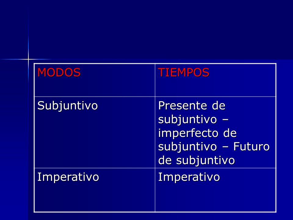 MODOSTIEMPOS Subjuntivo Presente de subjuntivo – imperfecto de subjuntivo – Futuro de subjuntivo ImperativoImperativo