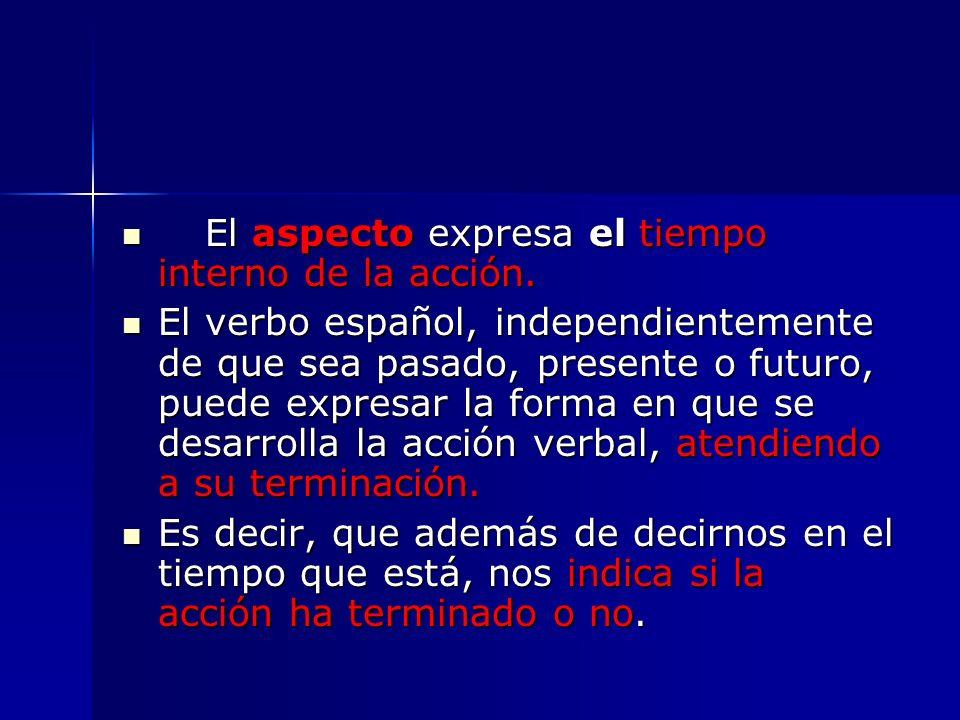 El aspecto expresa el tiempo interno de la acción. El aspecto expresa el tiempo interno de la acción. El verbo español, independientemente de que sea