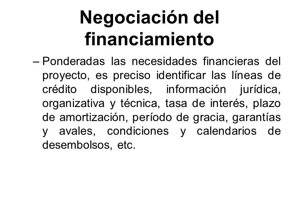 Negociación del financiamiento –Ponderadas las necesidades financieras del proyecto, es preciso identificar las líneas de crédito disponibles, informa