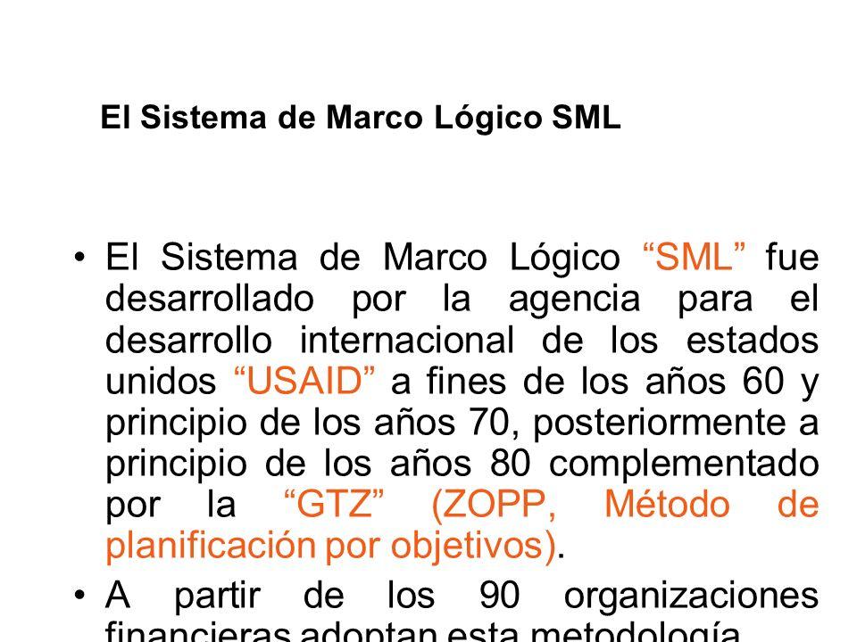 El Sistema de Marco Lógico SML fue desarrollado por la agencia para el desarrollo internacional de los estados unidos USAID a fines de los años 60 y p