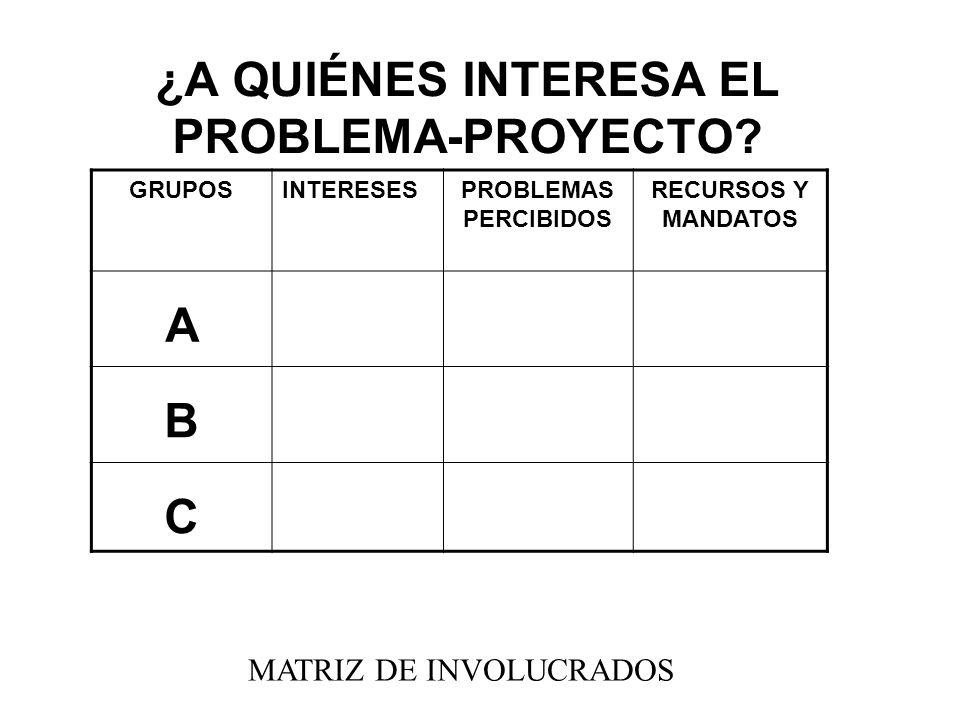 ¿A QUIÉNES INTERESA EL PROBLEMA-PROYECTO? GRUPOSINTERESESPROBLEMAS PERCIBIDOS RECURSOS Y MANDATOS A B C MATRIZ DE INVOLUCRADOS