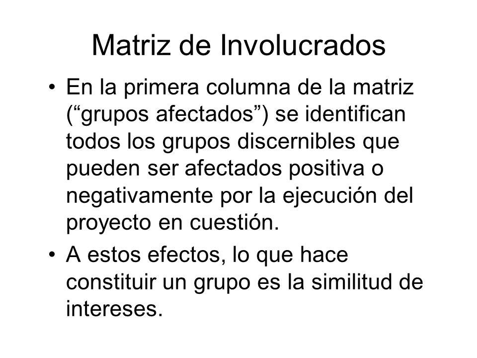 Matriz de Involucrados En la primera columna de la matriz (grupos afectados) se identifican todos los grupos discernibles que pueden ser afectados pos