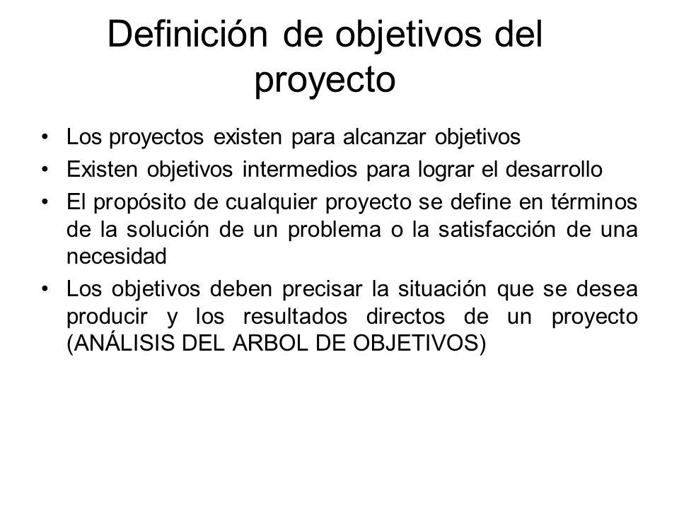 Definición de objetivos del proyecto Los proyectos existen para alcanzar objetivos Existen objetivos intermedios para lograr el desarrollo El propósit