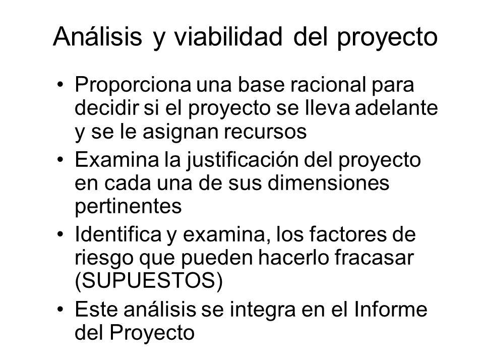 Análisis y viabilidad del proyecto Proporciona una base racional para decidir si el proyecto se lleva adelante y se le asignan recursos Examina la jus