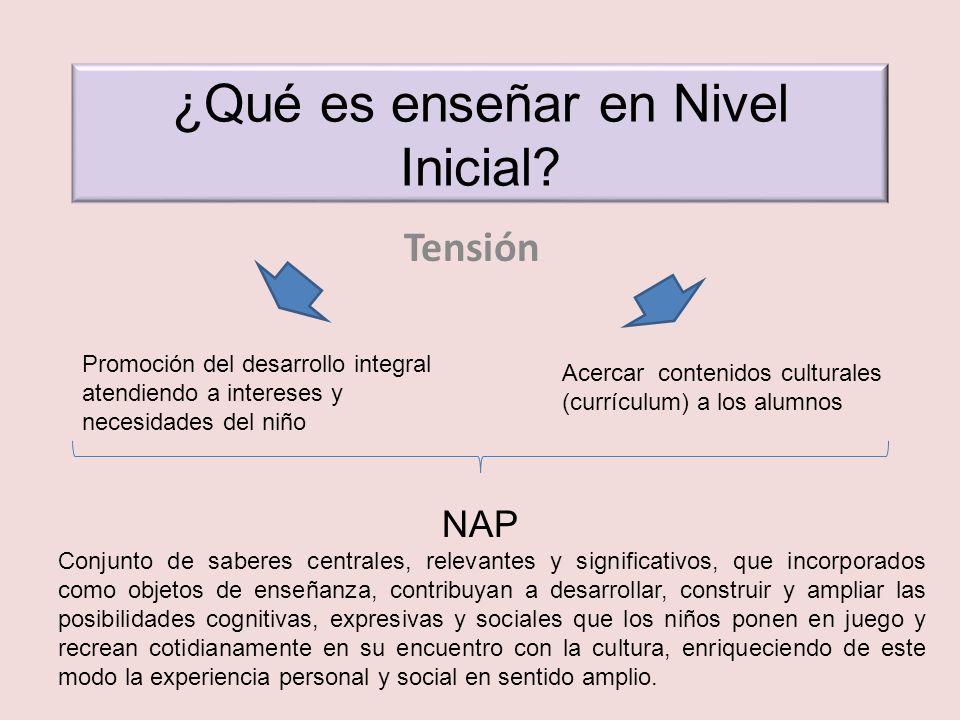 ¿Qué es enseñar en Nivel Inicial? Tensión Promoción del desarrollo integral atendiendo a intereses y necesidades del niño Acercar contenidos culturale