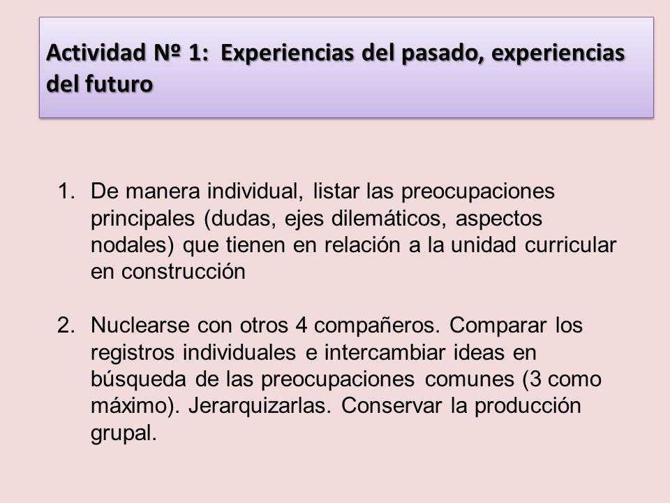 Actividad Nº 1: Experiencias del pasado, experiencias del futuro 1.De manera individual, listar las preocupaciones principales (dudas, ejes dilemático
