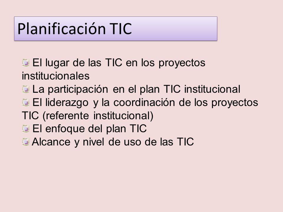 Planificación TIC El lugar de las TIC en los proyectos institucionales La participación en el plan TIC institucional El liderazgo y la coordinación de