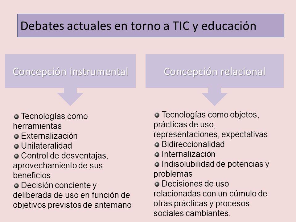 Debates actuales en torno a TIC y educación Concepción instrumental Concepción relacional Tecnologías como herramientas Externalización Unilateralidad