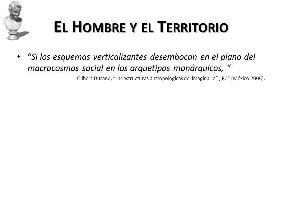 E L H OMBRE Y EL T ERRITORIO Si los esquemas verticalizantes desembocan en el plano del macrocosmos social en los arquetipos monárquicos, Gilbert Durand, Las estructuras antropológicas del imaginario, FCE (México 2006).
