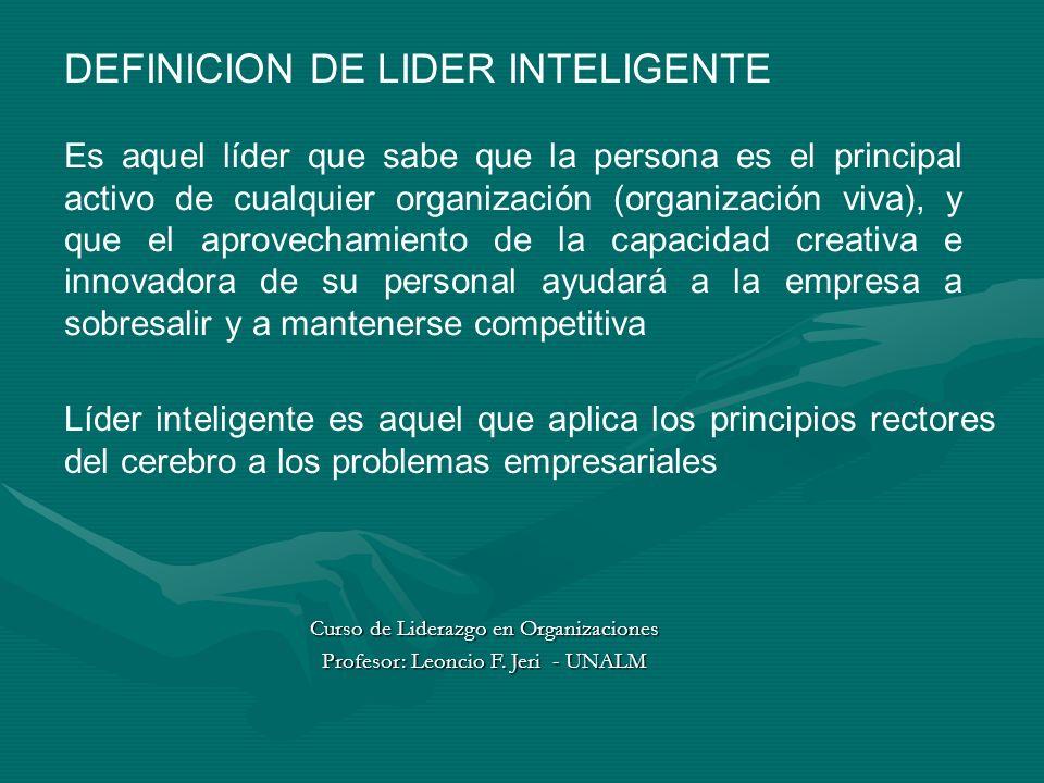 DEFINICION DE LIDER INTELIGENTE Es aquel líder que sabe que la persona es el principal activo de cualquier organización (organización viva), y que el