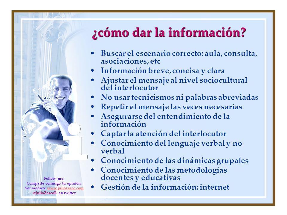 ¿cómo dar la información? Buscar el escenario correcto: aula, consulta, asociaciones, etc Información breve, concisa y clara Ajustar el mensaje al niv