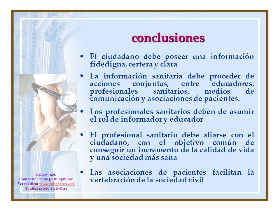 conclusiones El ciudadano debe poseer una información fidedigna, certera y clara La información sanitaria debe proceder de acciones conjuntas, entre e