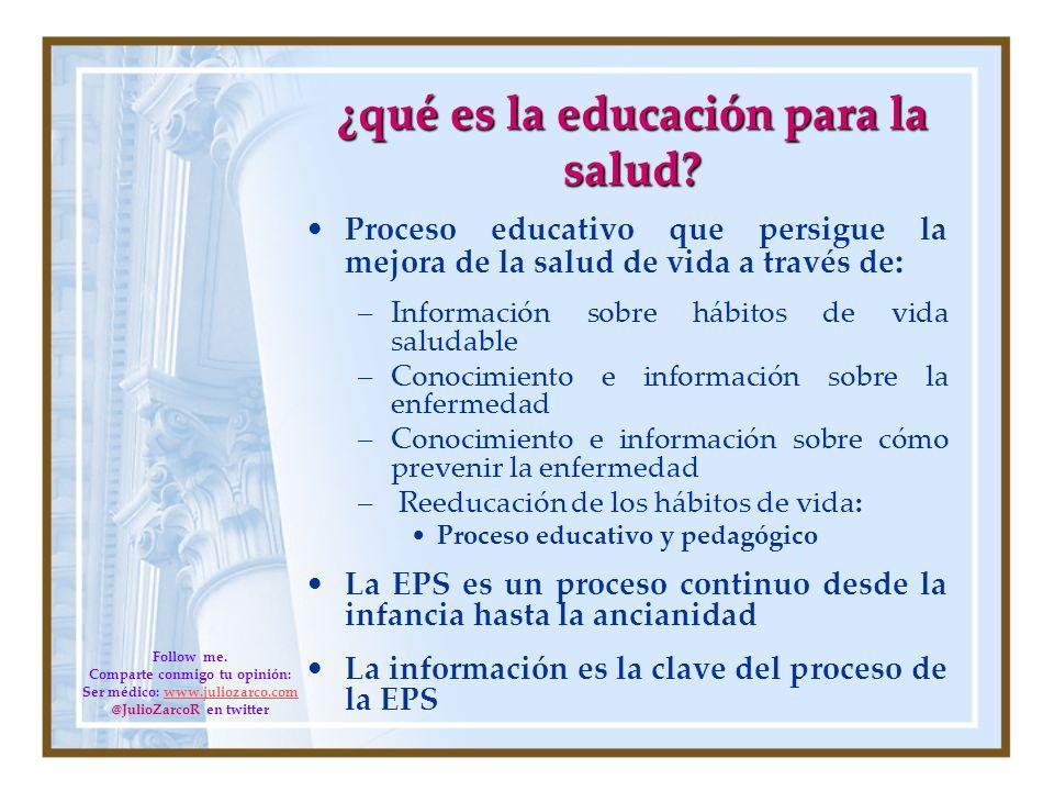 ¿qué es la educación para la salud? Proceso educativo que persigue la mejora de la salud de vida a través de : –Información sobre hábitos de vida salu