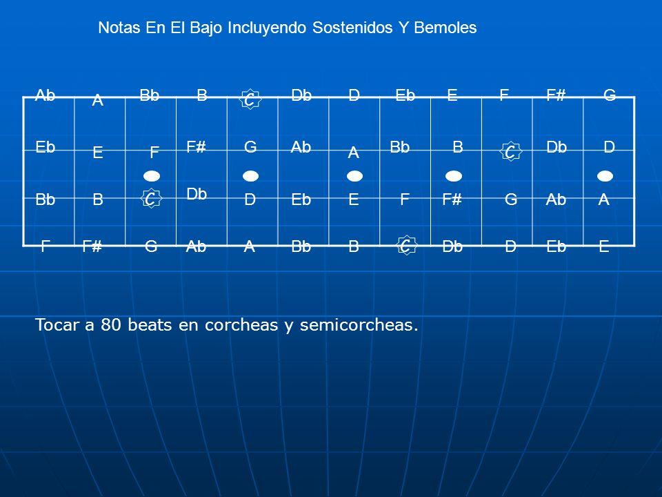 Notas En El Bajo Incluyendo Sostenidos Y Bemoles C C C C D D D D E E E E F F F FG G G GA A A A B B B B Bb Db AbEbF# AbEbF# EbAb Eb Tocar a 80 beats en