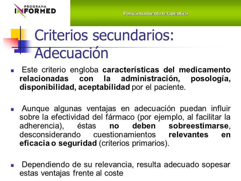 Criterios secundarios: Adecuación Este criterio engloba características del medicamento relacionadas con la administración, posología, disponibilidad, aceptabilidad por el paciente.