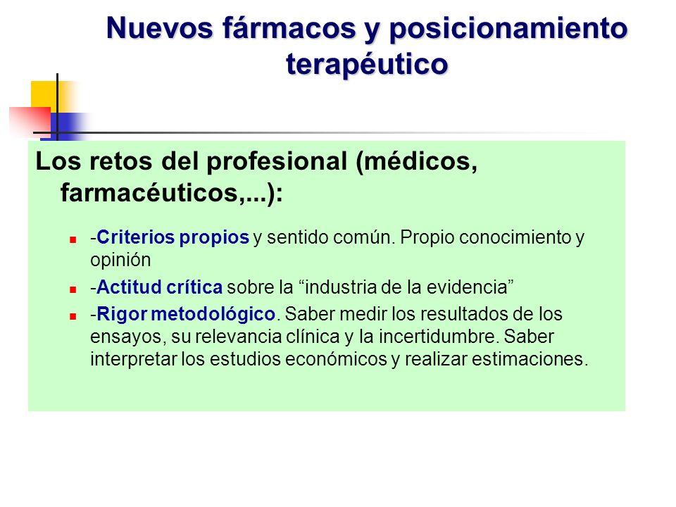Los retos del profesional (médicos, farmacéuticos,...): -Criterios propios y sentido común. Propio conocimiento y opinión -Actitud crítica sobre la in
