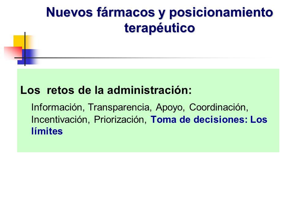 Los retos de la administración: Información, Transparencia, Apoyo, Coordinación, Incentivación, Priorización, Toma de decisiones: Los límites Nuevos fármacos y posicionamiento terapéutico
