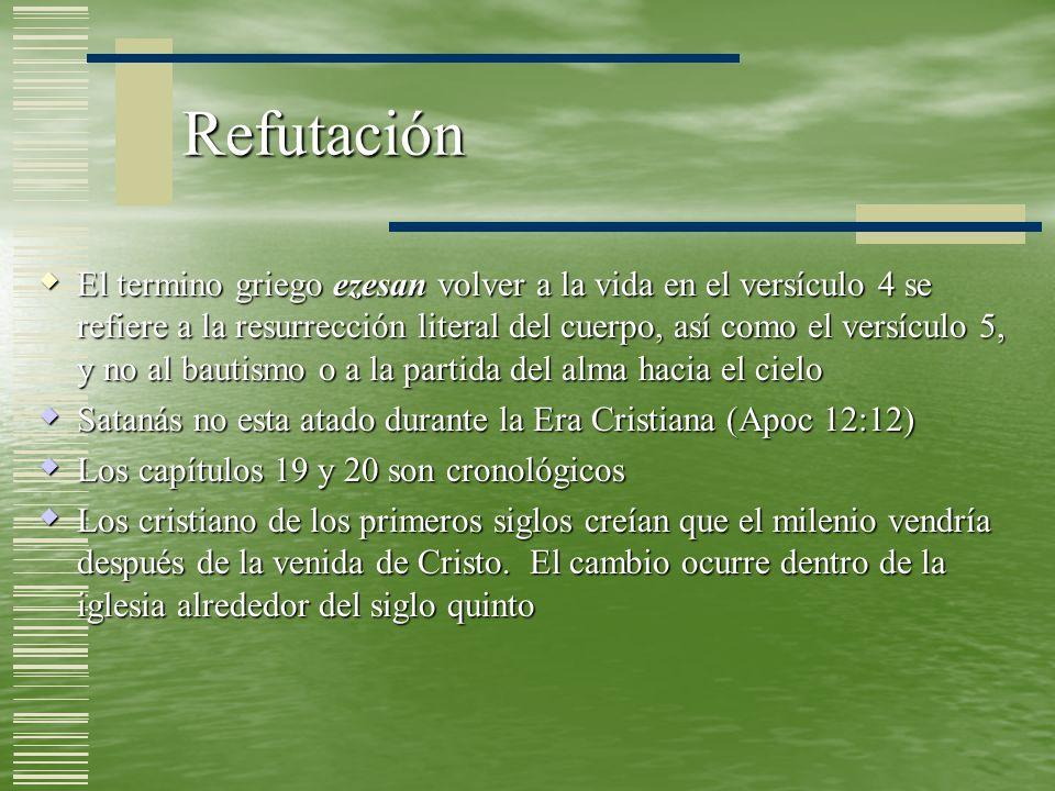 Bases Bíblicas Solo aparece en Apocalipsis 20 directamente Solo aparece en Apocalipsis 20 directamente Jeremías 4:23-27 se enfoca en forma indirecta en la condición de la tierra como resultado del Día de Dios Jeremías 4:23-27 se enfoca en forma indirecta en la condición de la tierra como resultado del Día de Dios Isaías 24:21-23 alude al encarcelamiento de Satanás y sus ángeles y la muerte de los impíos Isaías 24:21-23 alude al encarcelamiento de Satanás y sus ángeles y la muerte de los impíos 1 Corintios 6:2-3 encuentra su cumplimiento en la fase revisada del juicio milenial (Apoc 20:4) 1 Corintios 6:2-3 encuentra su cumplimiento en la fase revisada del juicio milenial (Apoc 20:4) El juicio final se encuentra descrito en Mateo 25:31-46.