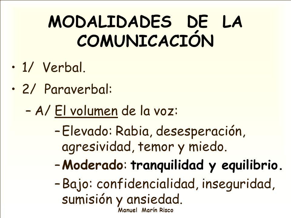 Manuel Marín Risco MODALIDADES DE LA COMUNICACIÓN 1/ Verbal. 2/ Paraverbal: –A/ El volumen de la voz: –Elevado: Rabia, desesperación, agresividad, tem