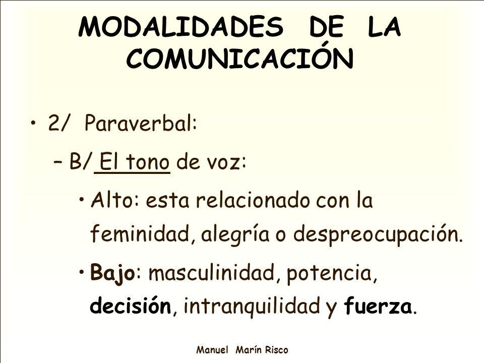 Manuel Marín Risco 2/ Paraverbal: –B/ El tono de voz: Alto: esta relacionado con la feminidad, alegría o despreocupación. Bajo: masculinidad, potencia