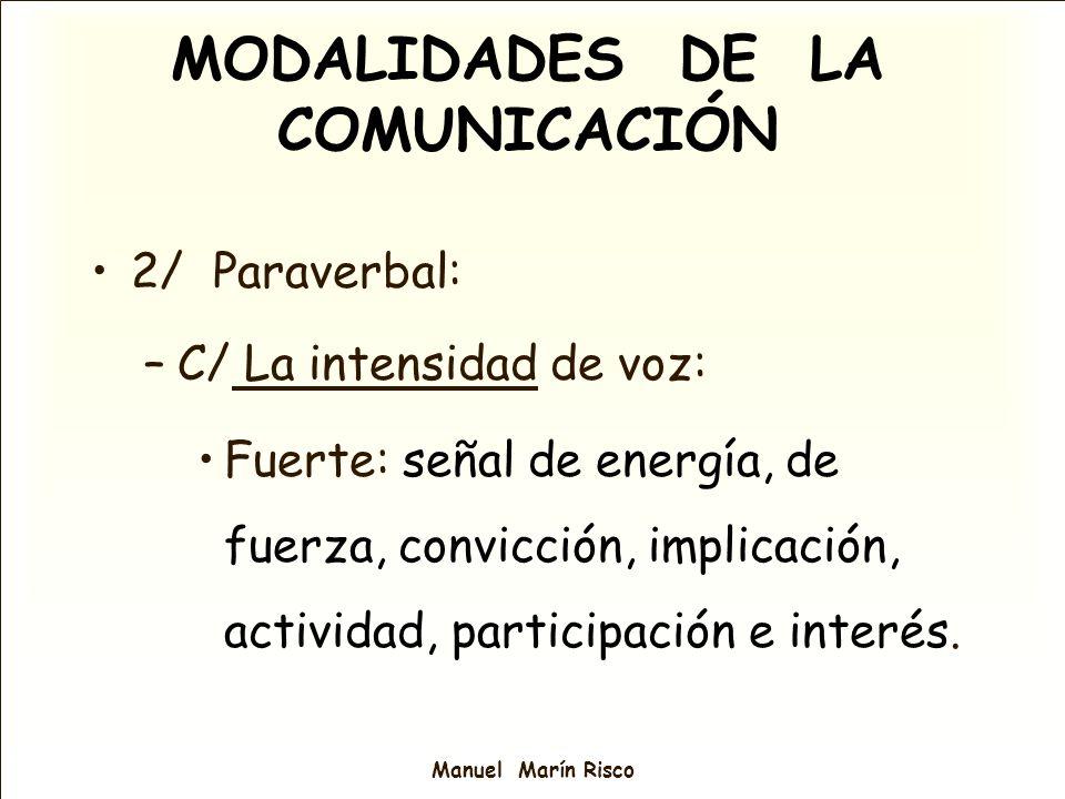 Manuel Marín Risco 2/ Paraverbal: –C/ La intensidad de voz: Fuerte: señal de energía, de fuerza, convicción, implicación, actividad, participación e i