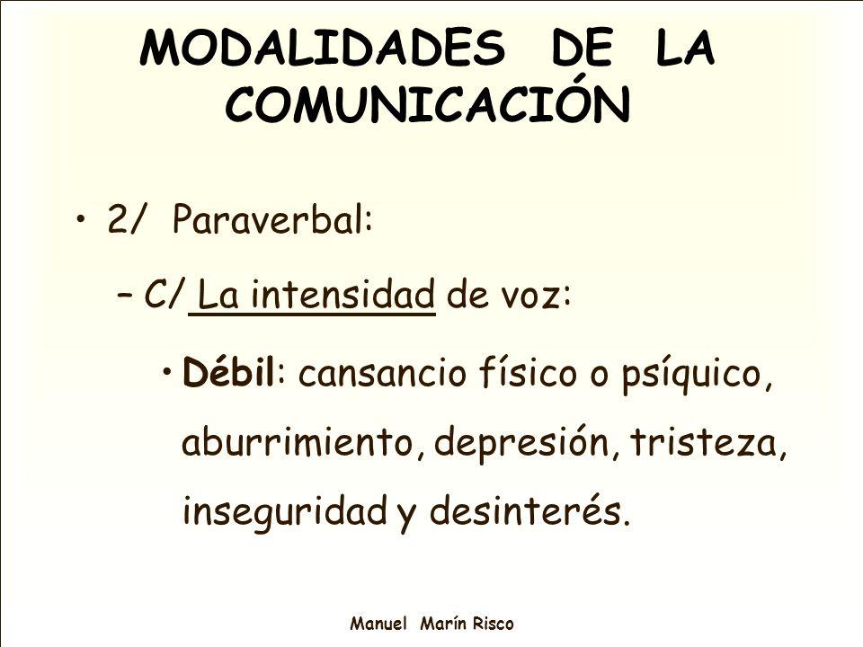 Manuel Marín Risco 2/ Paraverbal: –C/ La intensidad de voz: Débil: cansancio físico o psíquico, aburrimiento, depresión, tristeza, inseguridad y desin