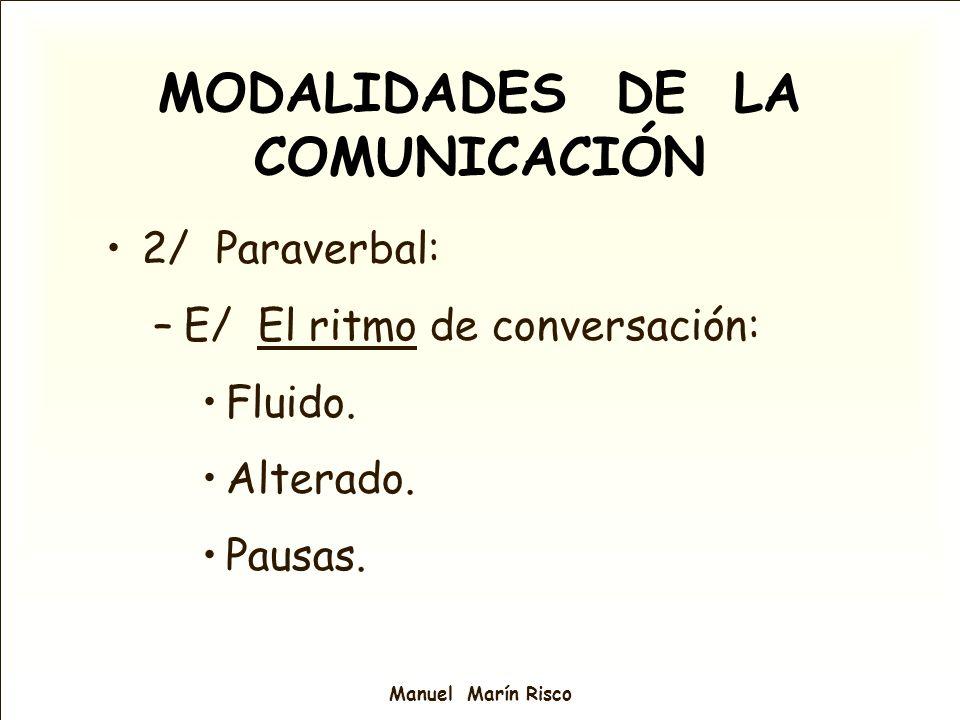 Manuel Marín Risco MODALIDADES DE LA COMUNICACIÓN 2/ Paraverbal: –E/ El ritmo de conversación: Fluido. Alterado. Pausas.