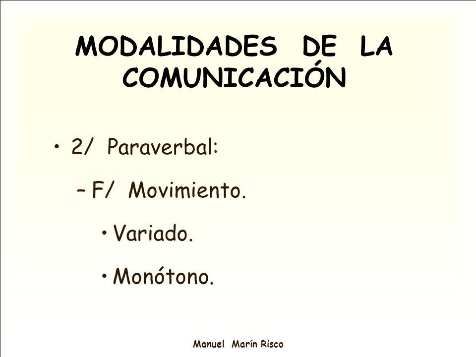 MODALIDADES DE LA COMUNICACIÓN 2/ Paraverbal: –F/ Movimiento. Variado. Monótono.
