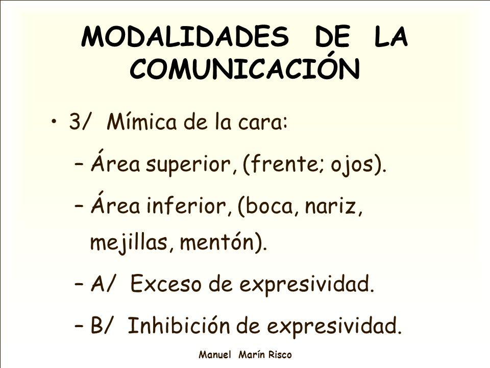 Manuel Marín Risco MODALIDADES DE LA COMUNICACIÓN 3/ Mímica de la cara: –Área superior, (frente; ojos). –Área inferior, (boca, nariz, mejillas, mentón