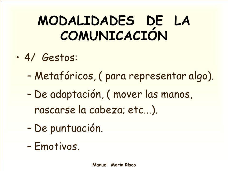 Manuel Marín Risco MODALIDADES DE LA COMUNICACIÓN 4/ Gestos: –Metafóricos, ( para representar algo). –De adaptación, ( mover las manos, rascarse la ca