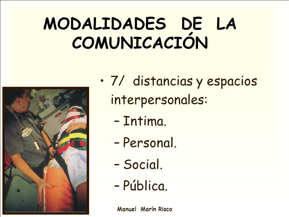 MODALIDADES DE LA COMUNICACIÓN 7/ distancias y espacios interpersonales: –Intima. –Personal. –Social. –Pública.