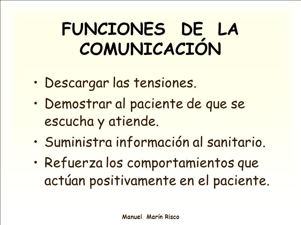 Manuel Marín Risco FUNCIONES DE LA COMUNICACIÓN Descargar las tensiones. Demostrar al paciente de que se escucha y atiende. Suministra información al