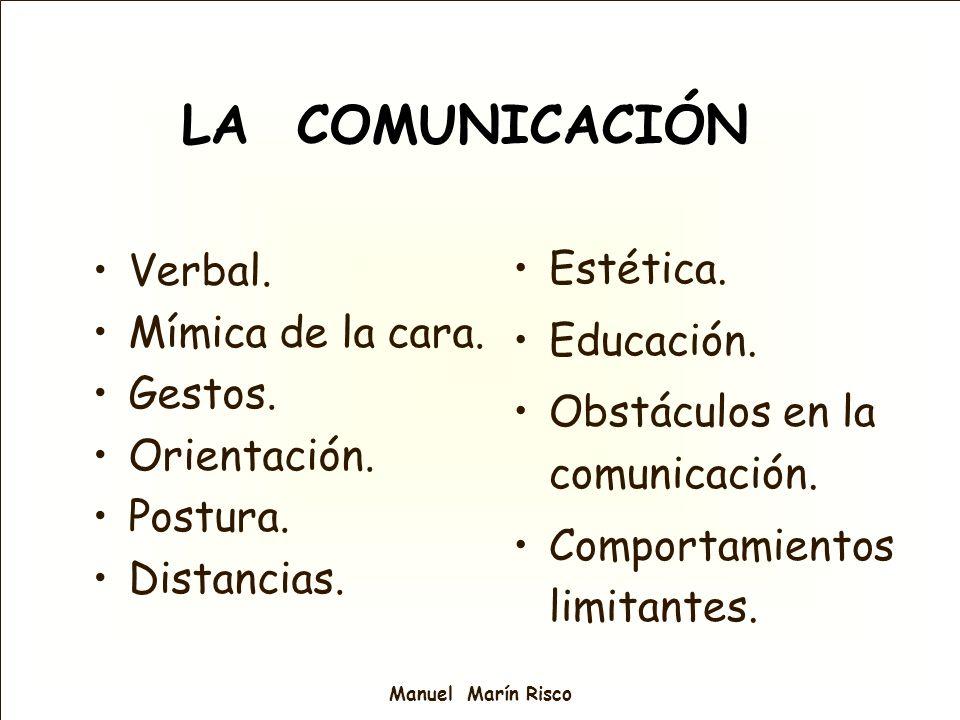 Manuel Marín Risco LA COMUNICACIÓN Verbal. Mímica de la cara. Gestos. Orientación. Postura. Distancias. Estética. Educación. Obstáculos en la comunica