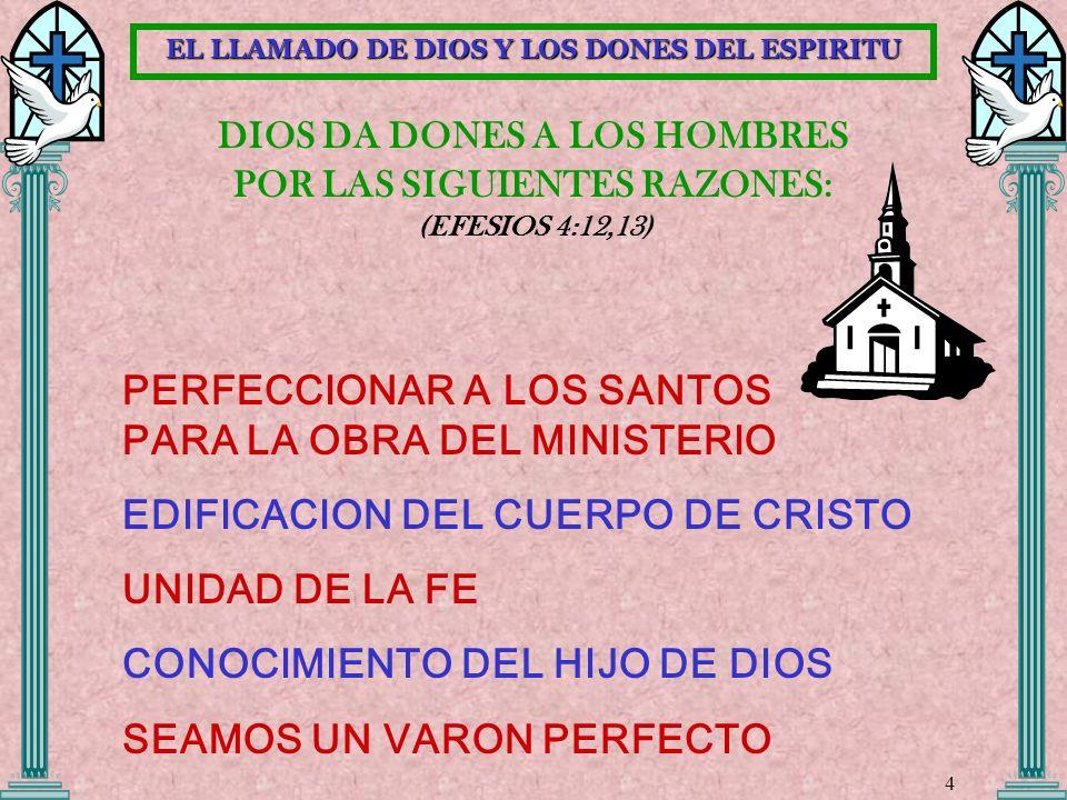 DIOS DA DONES A LOS HOMBRES POR LAS SIGUIENTES RAZONES: (EFESIOS 4:12,13) PERFECCIONAR A LOS SANTOS PARA LA OBRA DEL MINISTERIO EDIFICACION DEL CUERPO