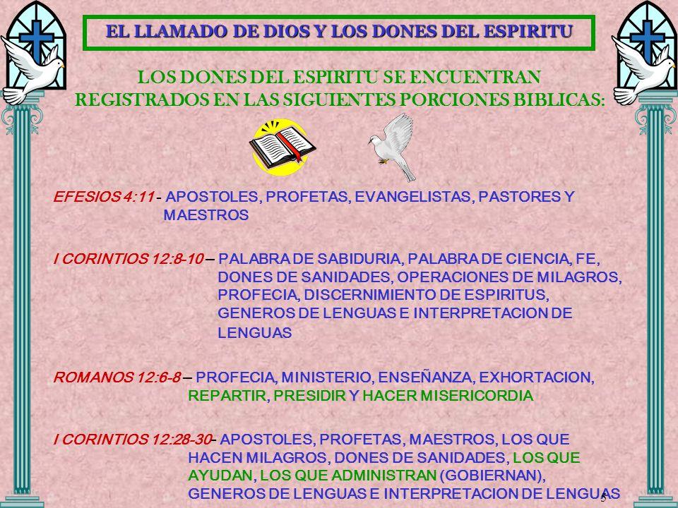 LOS DONES DEL ESPIRITU SE ENCUENTRAN REGISTRADOS EN LAS SIGUIENTES PORCIONES BIBLICAS: EFESIOS 4:11 - APOSTOLES, PROFETAS, EVANGELISTAS, PASTORES Y MA