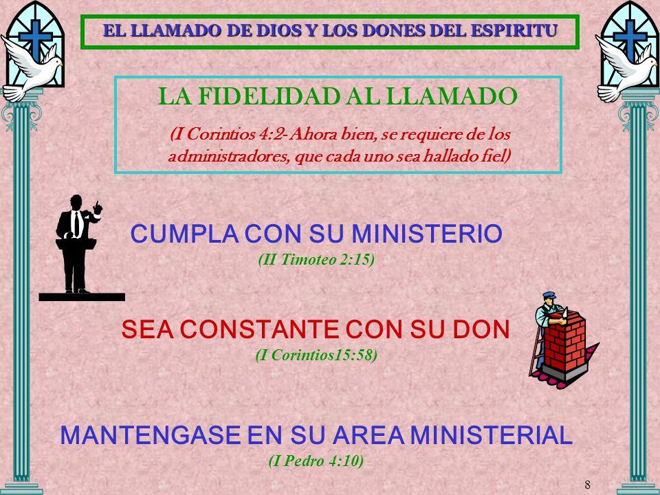LA FIDELIDAD AL LLAMADO (I Corintios 4:2- Ahora bien, se requiere de los administradores, que cada uno sea hallado fiel) CUMPLA CON SU MINISTERIO (II