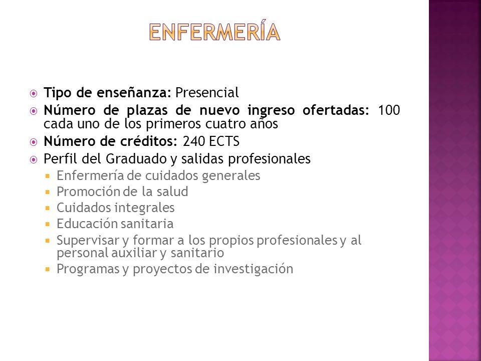 Tipo de enseñanza: Presencial Número de plazas de nuevo ingreso ofertadas: 100 cada uno de los primeros cuatro años Número de créditos: 240 ECTS Perfi