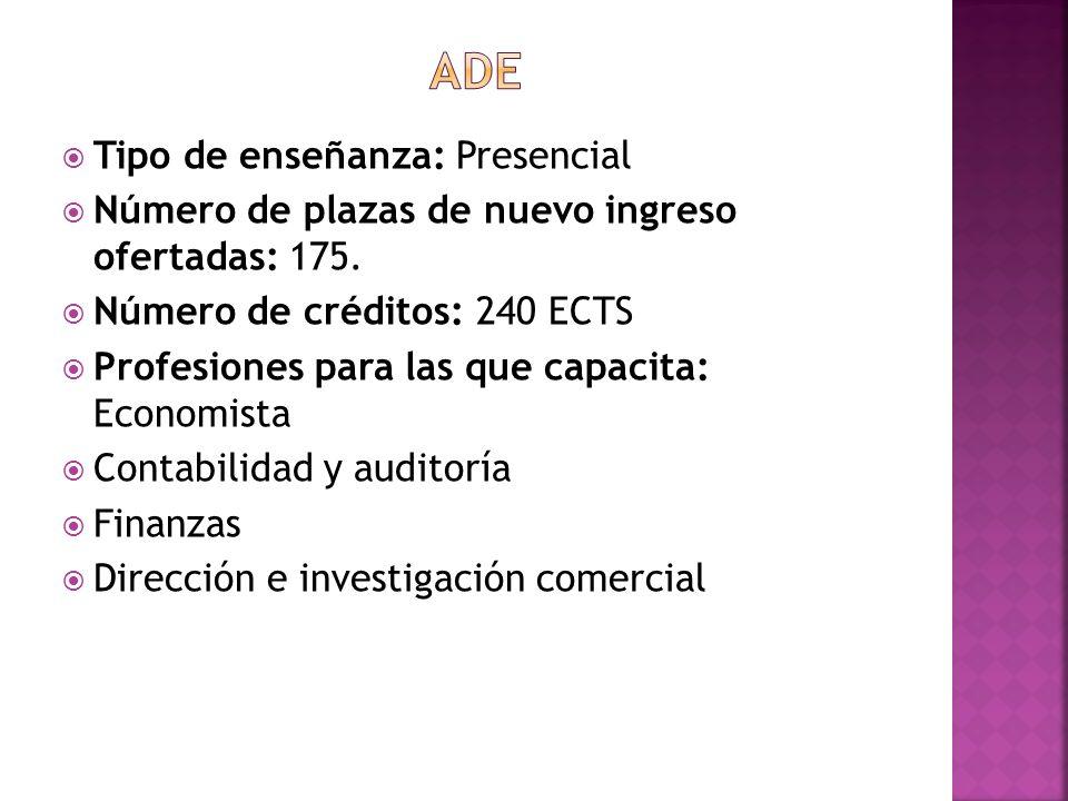 Tipo de enseñanza: Presencial Número de plazas de nuevo ingreso ofertadas: 175. Número de créditos: 240 ECTS Profesiones para las que capacita: Econom