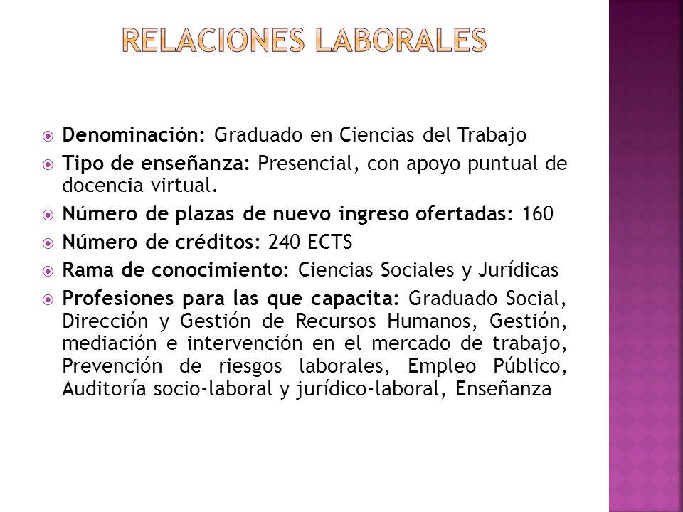 Denominación: Graduado en Ciencias del Trabajo Tipo de enseñanza: Presencial, con apoyo puntual de docencia virtual. Número de plazas de nuevo ingreso