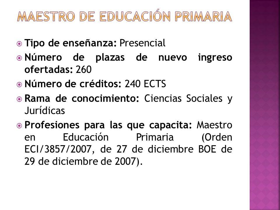Tipo de enseñanza: Presencial Número de plazas de nuevo ingreso ofertadas: 260 Número de créditos: 240 ECTS Rama de conocimiento: Ciencias Sociales y