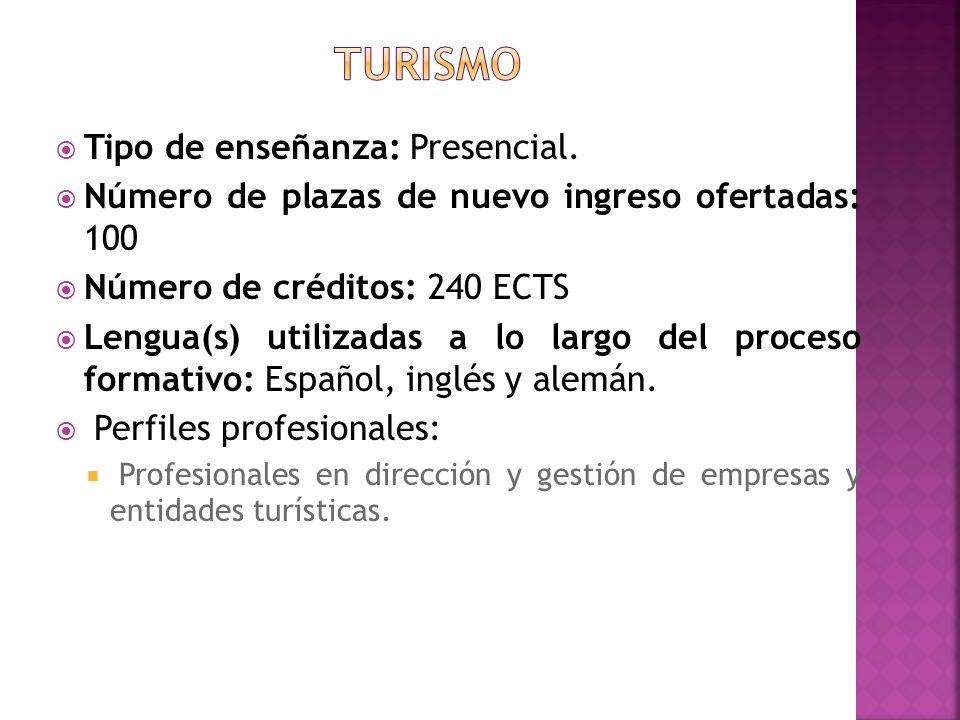 Tipo de enseñanza: Presencial. Número de plazas de nuevo ingreso ofertadas: 100 Número de créditos: 240 ECTS Lengua(s) utilizadas a lo largo del proce