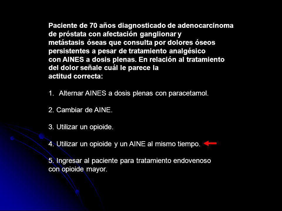 Paciente de 70 años diagnosticado de adenocarcinoma de próstata con afectación ganglionar y metástasis óseas que consulta por dolores óseos persistent