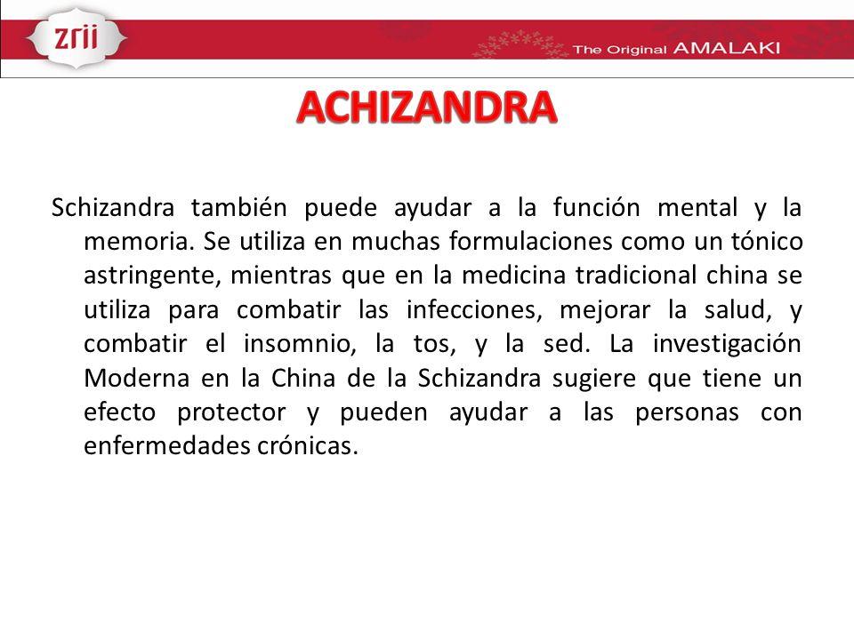 Schizandra también puede ayudar a la función mental y la memoria. Se utiliza en muchas formulaciones como un tónico astringente, mientras que en la me