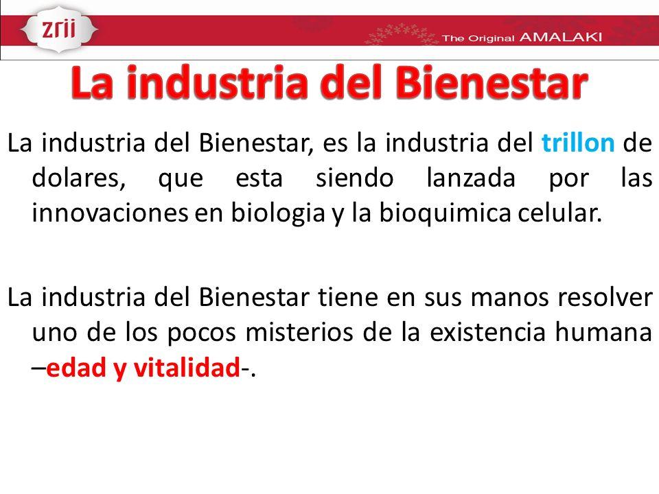 La industria del Bienestar, es la industria del trillon de dolares, que esta siendo lanzada por las innovaciones en biologia y la bioquimica celular.