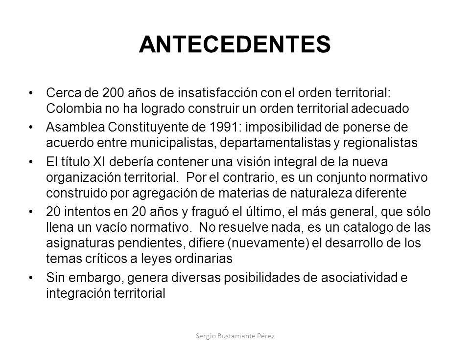 ANTECEDENTES Cerca de 200 años de insatisfacción con el orden territorial: Colombia no ha logrado construir un orden territorial adecuado Asamblea Con