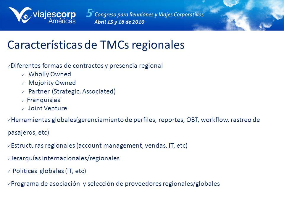 Características de TMCs regionales Diferentes formas de contractos y presencia regional Wholly Owned Mojority Owned Partner (Strategic, Associated) Fr