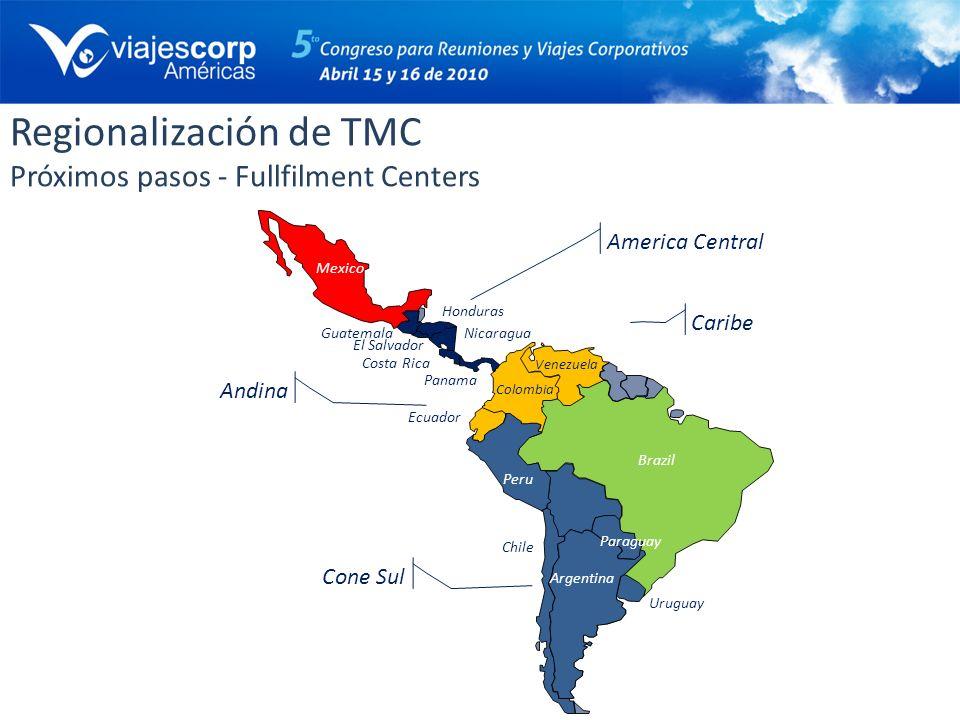 Regionalización de TMC Próximos pasos - Fullfilment Centers Brazil Argentina Uruguay Chile Peru Colombia Ecuador Venezuela Paraguay Panama Costa Rica