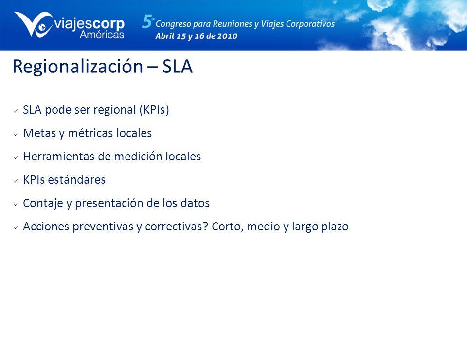Regionalización – SLA SLA pode ser regional (KPIs) Metas y métricas locales Herramientas de medición locales KPIs estándares Contaje y presentación de