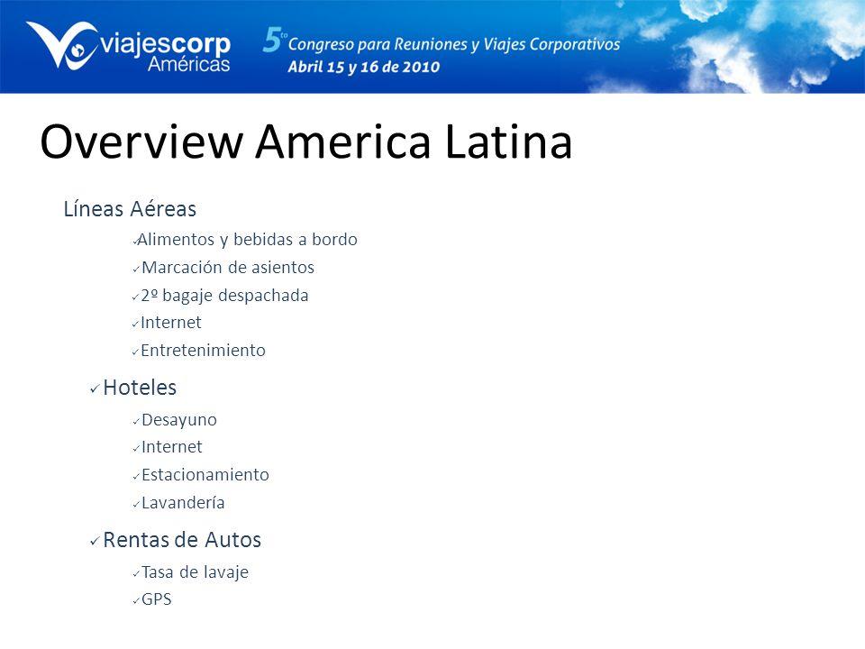 Overview America Latina Líneas Aéreas Alimentos y bebidas a bordo Marcación de asientos 2º bagaje despachada Internet Entretenimiento Hoteles Desayuno