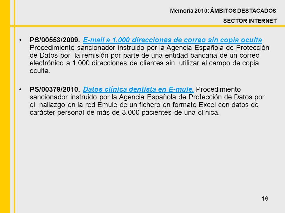19 PS/00553/2009. E-mail a 1.000 direcciones de correo sin copia oculta.